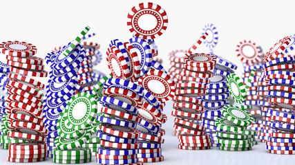 3d render Poker chips falling