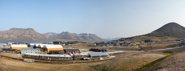Panorama of the center of Longyearbyen in Svalbard, Norway.
