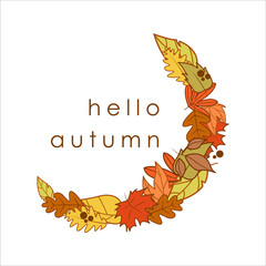 Hello Autumn Greeting Crescent Shape Dry Leaves Frame Illustration Design
