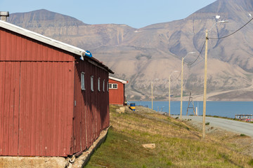 Colorful houses along the road in summer at Longyearbyen, Svalbard.