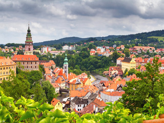 City landscape, panorama - view over the historical part Cesky Krumlov with Vltava river in summer time, Czech Republic