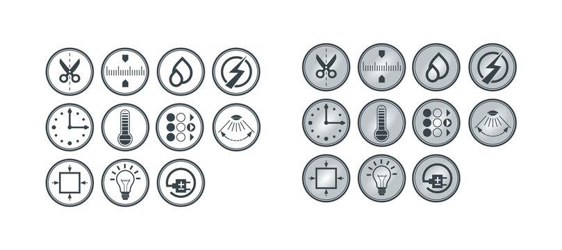 Technical vector icon set for light equipment
