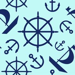 Blue marine vector pattern seamless