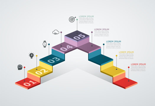 Infographic design template with step structure. Business concept with 5 options pieces. Block diagram, information graph, workflow.
