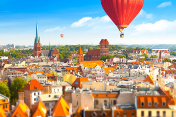 Aerial panoramic view of historical buildings and roofs in Polish medieval town Torun Fototapete