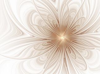 Obraz Abstract fractal beige flower on a white background - fototapety do salonu