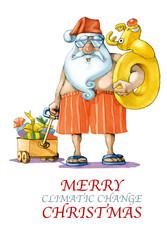Saint in swimsweet funny cartoon for postcard
