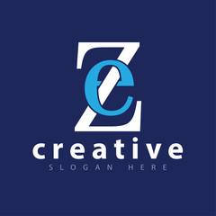 E Z Initial letter logo icon vector