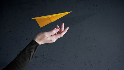 Travel Insurance Concept. Airlines industry Safe and Supporting Customer, Paper Airplane floating and Protected by Carefuly Gesture Hand