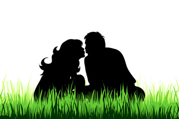 Vector silhouette of couple on the meadow.