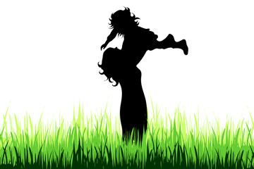 Vector silhouette of family on the meadow.