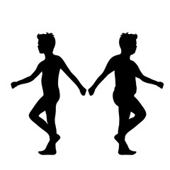 Vector silhouette of slim and fat boy on white background.