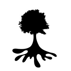 Vector silhouette of the tree on white background.