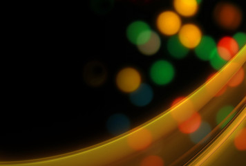 Black background with bright colorful bokeh