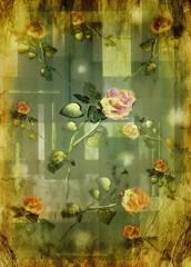 Progetto grafico, rose vintage.