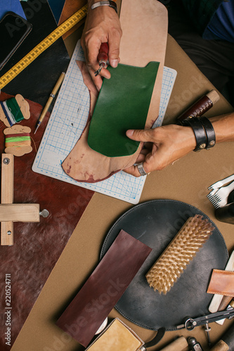 Top View Of Working Process In Leather Craft Workshop Set Of