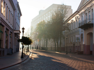 Sights and views of Grodno. Belarus. Street of the city. Summer. Early morning.