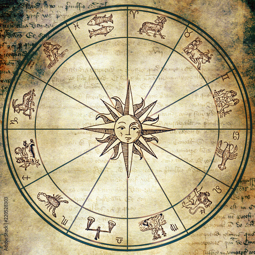 Astrology Wheel With Zodiac Signs And Sun Symbol Like In Old Vintage