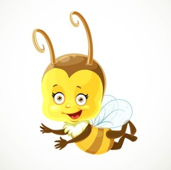 Cute baby Bee flies on a white background