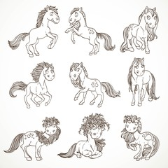 Cute outlined cartoon horses in wreaths set isolated on white background