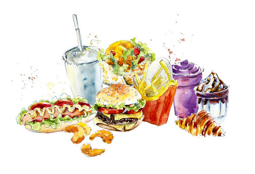 Fast food backdrop. Watercolor hand drawn illustration.