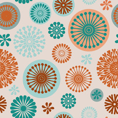 Vector purple abstract floral elements seamless pattern background on off white with turquoise, purple and orange, perfect for fabric, wallpaper, scrapbooking and fashion