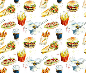 Fast Food. Seamless pattern. Sketch. Hand painting watercolor illustration.