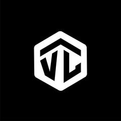 V L Initial letter hexagonal logo vector
