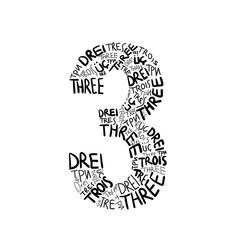 Three -  Multilingual Hand drawn number illustration