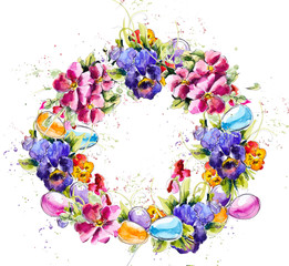 Easter wreath. Watercolor hand painting illustration