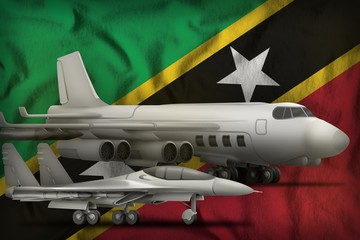 Saint Kitts and Nevis air forces concept on the state flag background. 3d Illustration