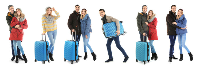 Set with people in warm clothes and suitcases on white background. Ready for winter vacation
