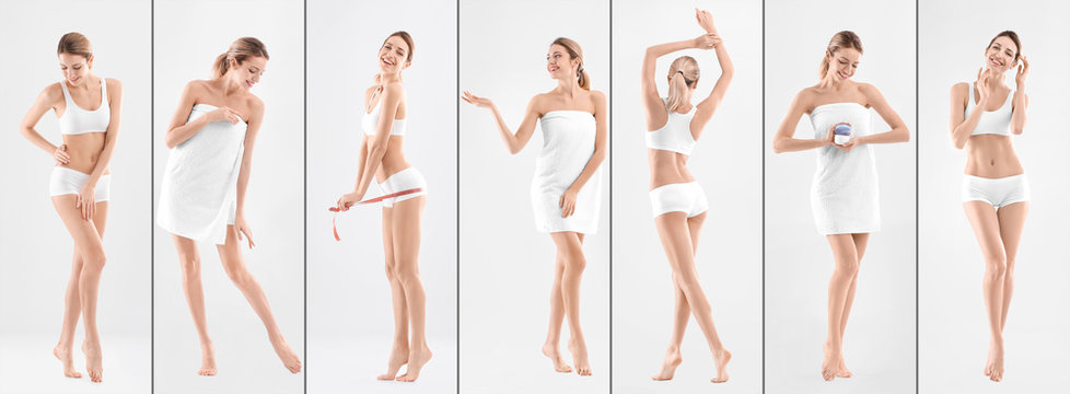 Set with young woman on light background. Beauty and body care