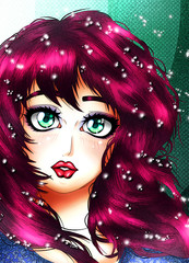 Portrait of a girl in the anime style.