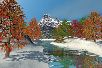 Trees with colored leaves, a beautiful  landscape, snow on the ground, mountain in the background and a blue sky.