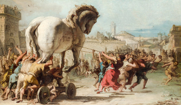 Painting depicting the entrance of the wooden horse to Troy . Giovanni Domenico Tiepolo