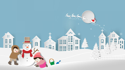 Paper folding art origami style vector illustration Merry Christmas Happy New Year Children making snowman and snowy landscape Winter night sky with santa claus reindeer on big moon village background