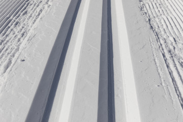 Close-up of a cross-country skiing trail in Switzerland