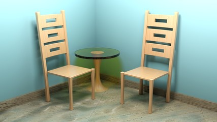 Wooden modern chairs and table - 3D rendering