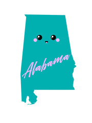 Alabama. Map. Cute vector illustration. Design print for t-shirt