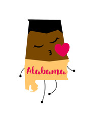 Alabama. Map and man vector illustration. Design print for t-shirt