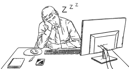 tired businessman is sleeping on his desk at work