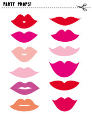 Printable Vector Photo Booth Props. Party Props Set. Various Colors Elements. Different Types of Cute Lips. Do It Yourself Set.