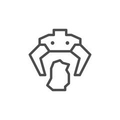Robotic claw line icon