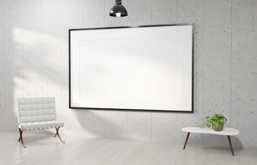 Large horizontal frame hanging on a white concrete wall 3D rendering