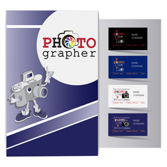 Poster with an amusing character and business cards for a photographer. Set. Design of business cards for photo studio, atelier.