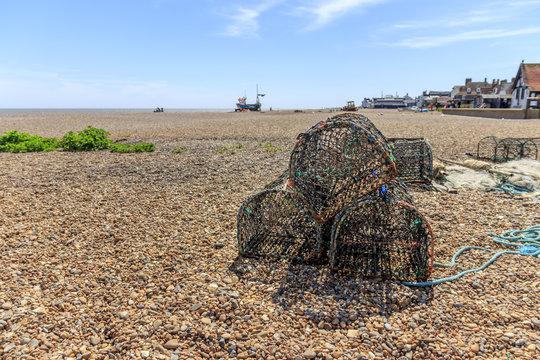 Lobster pots on the beach