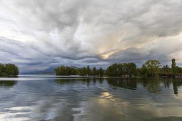 Threatening storm clouds on Lake Sempach near Sursee, Lucerne in Switzerland