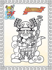 Ancient Greek god Hermes, coloring book