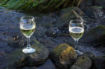 Weißweingläser im fließenden Wasser auf Steinen